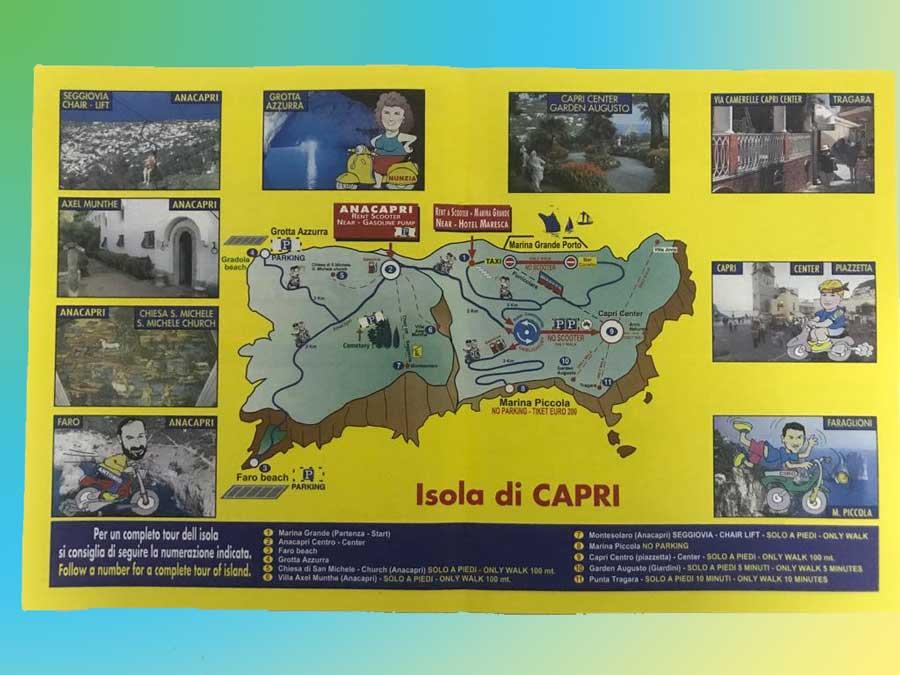 Rent Scooter Capri Mappa Tour Guidato