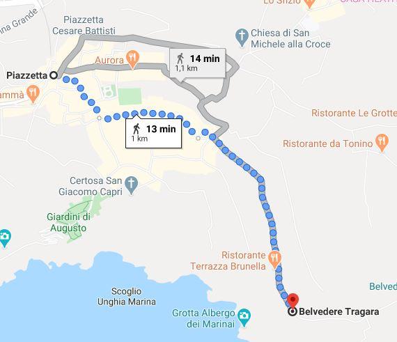 Via Tragara Capri 1-2 Itinerario
